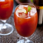 Michelada con clamato (Beer on a salted glass and tomato/clam juice)