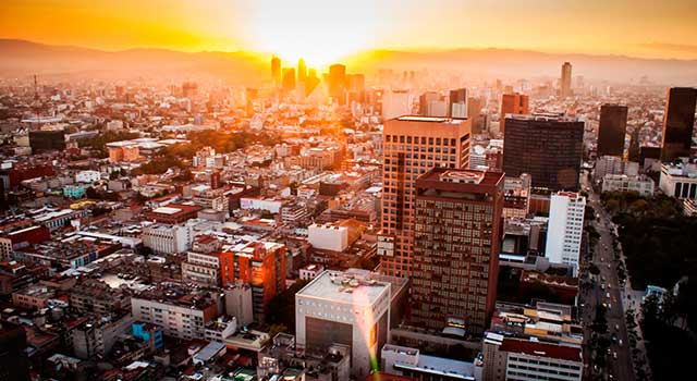 aerial-view-mexico-city-sunset