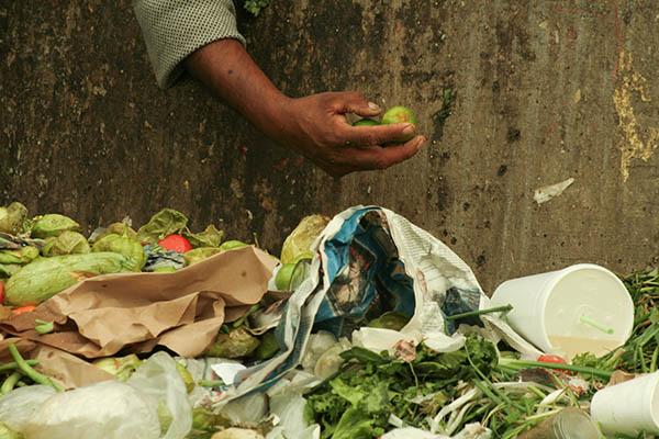 MÉXICO, D.F., 11JUNIO2009.- En la Central de Abastos, una de las más grandes en América Latina, miles de personas asisten a comprar alimentos ya sea para su consumo o la venta al menudeo. Afuera en los contenedores se desechan vegetales, frutas, legumbres que ya están algo maltrechos lo que es apovechado por muchas personas que urgan en estos para encontrar lo que aun es comestible, este tipo de acciones sirve para la alimentación de sus familias.   FOTO: SARA ESCOBAR/CUARTOSCURO.COM