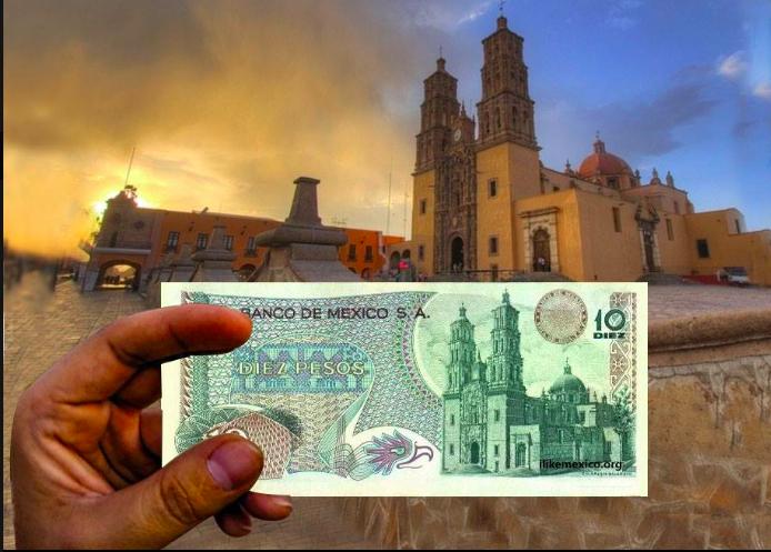 Billete mexicano de 10 pesos, con uno de los paisajes en billetes mexicanos