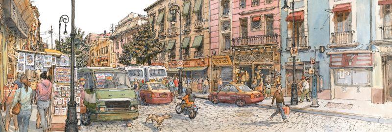 Louis Vuitton Travel Book Mexico, illustre par Nicolas de Crecy, 2017 : street near Allende Metro station, Centro Histo;rico.