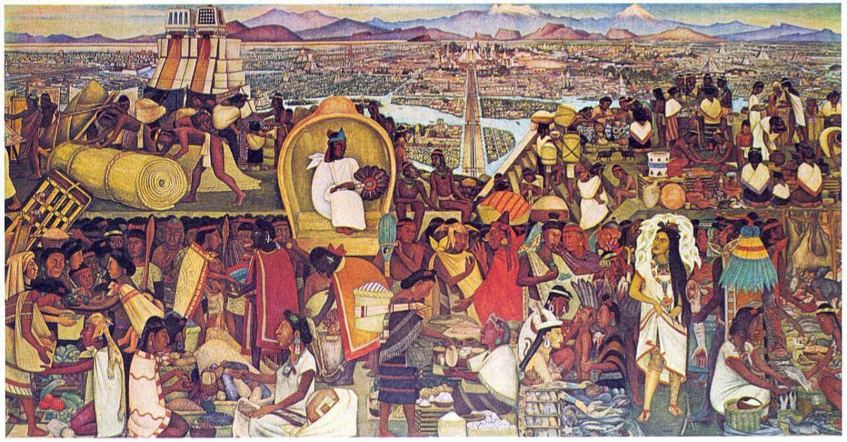 Resultado de imagen de Tenochtitlan, pintura de Diego Rivera
