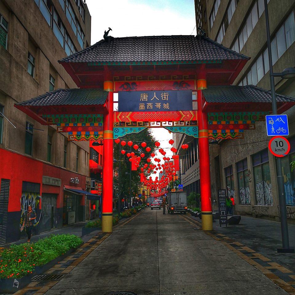 vista del paifang del barrio chino de la cdmx